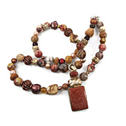 Goldstone sterling silver necklace - Beaded agate - Bohemian Style - InVintageHeaven