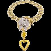 Love Birds Rhinestone Vintage Assemblage Necklace - Big Gold Statement Runway Piece - InVintag