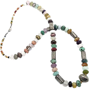 Stone Beaded Necklace - Quartz Amethyst Agate & Metal - Long Statement Necklace - Boho Ethnic