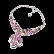 Fleur-de-Lis Pink Rhinestone Bib Necklace - Purple Silver Bling - Vintage Assemblage - InVinta