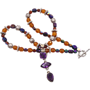 Amethyst Necklace - Sterling Silver - Purple & Amber - Beaded Boho - InVintageHeaven