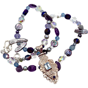 Blue Topaz, Amethyst Pendant, Sterling Silver, Beaded Necklace, Pearls, Big Bohemian, Boho Sta
