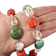 HUGE Turquoise, Quartz & Orange Coral Stone Necklace - Big Chunky Statement Beaded - Sterling