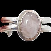 Rose Quartz Bracelet, Pink Stone, Sterling Silver, Vintage Cuff, Pink Gemstone, Big Statement,