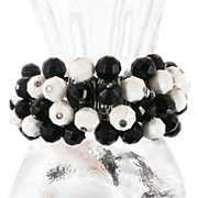 Black White Beaded Expandable Bracelet - Vintage Fun Cha-Cha Piece - InVintageHeaven