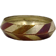 Vintage Brass Chevron Tin - Bohemian Hippie 1970s Bangle Bracelet - InVintageHeaven