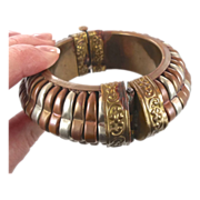 Vintage Mixed Metals Bracelet - Big Bangle - Wide Copper Brass - Ethnic Hippie Gypsy - Invinta