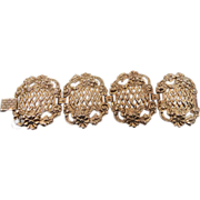 Baroque Gold Bracelet - Vintage Wide Panels - Etruscan Open Work - InVintageHeaven