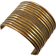 Vintage Ethnic Brass Bracelet - Vintage Wide Heavy Piece - InVintageHeaven