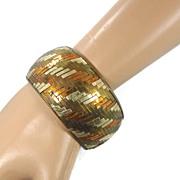 SALE Woven India Brass & Tin Bracelet - Vintage 1970s Bangle Bracelet - Boho Gypsy - InVintage