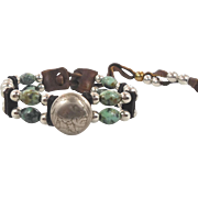 Leather & Beaded Green Jasper Bracelet - Vintage Southwestern Indian Head - Unisex - InVintage