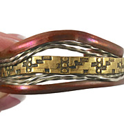 Mixed Metals Copper Brass & Silver Bracelet - Vintage Studio Unique - Unisex - InVintageHeaven