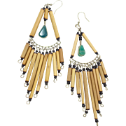 Boho Earrings, Big Statement, Bamboo Beads, Blue Stones, Vintage Earrings, Ethnic, Long Dangle