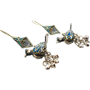 """Bird Earrings, 3"""" Long, Vintage Earrings, Blue Enamel, Gypsy Boho, Bells, Bohemian, Big ."""