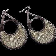 Black Earring, Clear Beaded, Vintage Earrings, Big Statement, Boho Bohemian, Gypsy Jewelry, Hi