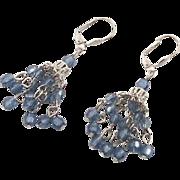 """Vintage Smokey Blue Dangle Earrings - Boho Gypsy 2 1/4"""" Long - InVintageHeaven"""