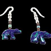 Bear Fetish Earrings, Malachite Azurite, Blue Green Earrings, Vintage Dangle, Zuni Bear, Beade
