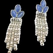 Periwinkle Moonglow Chain Dangle Earrings - Vintage Unique Pierced Long - InVintageHeaven