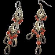 Boho Earrings, Long Dangles, Big Statement, Orange Gold, Filagree Beaded, Gypsy Earrings, Vint