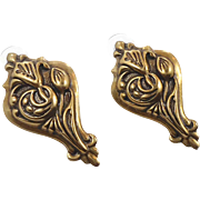 Bohemian Earrings, Brass, Big Statement, Vintage Pierced, Large, Huge, Unique, Unusual, Art ..