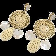"Gold Big Earrings - Vintage ""N R"" Boho Gypsy - Filagree & Shell - 3"" Long - InV"