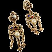 Gold Long Earrings, Vintage Earrings, Statement, Victorian Revival, Etruscan, Steampunk, Jewel