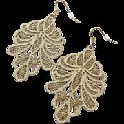 """Vintage Filigree Earrings - Vintage Big Huge Boho Gypsy - 3"""" Long - InVintageHeaven"""