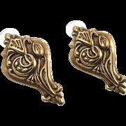 """Bohemian Brass Earrings - Big Vintage Pierced - 2"""" Long - InVintageHeaven"""