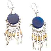Vintage Blue & Silver Dangle Hippie Earrings - Gypsy Boho - InVintageHeaven
