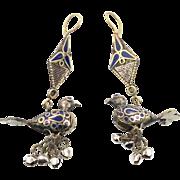 "Bird Earrings, 4"" Long, Vintage Earrings, Lapis Cobalt Blue Enamel, Gypsy Boho, Bells, Bo"