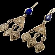 Blue Lapis Earrings, Afghan Earrings, Vintage Earrings, Kuchi Gypsy, Boho Jewelry, Bohemian, F