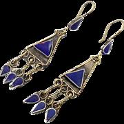 Blue Lapis Earrings, Afghan Earrings, Vintage Earrings, Composite Stone, Kuchi Gypsy, Boho ...