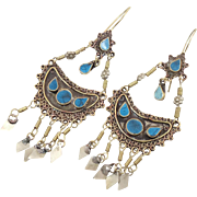 "Ethnic Earrings, Blue Vintage Kuchi, Gypsy Boho, Mixed Metals, 4"" Long, Big Statement, Tr"