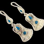 Boho Earrings, Vintage Earrings, Silver, Kuchi Gypsy, Kazakh, Kazakhstan, Afghan Jewelry, Bohe