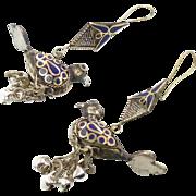 Bird Earrings, Lapis Cobalt Blue, Afghan Vintage, Bells, Kuchi Gypsy, Boho, Bohemian, Statemen