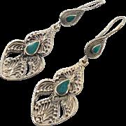 Afghan Earrings, Green Stone Earrings, Kuchi Gypsy, Boho Jewelry, Big Bohemian, Statement, Sil