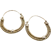 Hoop Earrings, Big Huge, Vintage Earrings, Silver, Boho Statement, Gypsy, Bohemian, Large, Eth