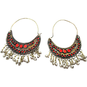 Hoop Earrings, Big Hoops, Belly Dance , Kuchi Earrings, Red Mirror, Silver Bells, Ethnic Jewel