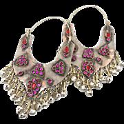 Gypsy Silver Earrings - Huge Big - Pink & Red Ethnic Tribal - Kuchi Afghan - InVintageHeaven