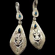 Boho Earrings, Vintage Earrings, Kuchi Gypsy, Turquoise, Pierced Dangle, Afghan Jewelry, ...