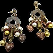 Vintage Earrings, Boho Earrings, Mixed Metal, Big Earrings, Statement Jewelry, Heart Charms, G