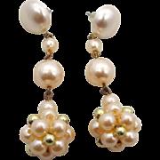 Long Pearl Earrings, Vintage Earring, Long Dangle, Faux Pearls, Statement Earrings, Vintage Je