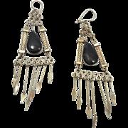 Peruvian Earrings, Gypsy Earrings, Silver Black, Vintage Earrings, Ethnic Jewelry, Boho, Long