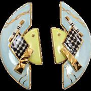 Porcelain Earrings, Aqua Gold, Black White, Vintage 1980, Statement Earrings, Big Large, Pierc
