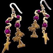 Gypsy Earrings, Star Earrings, Charm Earrings, Brass Earrings, Vintage Earrings, Boho Earrings