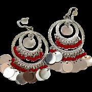Gypsy Earrings, Silver Red, Vintage Earrings, Boho Jewelry, Belly Dance, Long Dangles, Bohemia