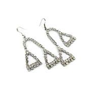 "Vintage Clear Rhinestone Earrings - Gorgeous 3"" Long 1980s - InVintageHeaven"