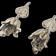 Filagree Earrings, Sterling Silver, Flower Bells, Vintage Earrings, Boho Statement, 925 Wire,