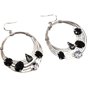 Hoop Earrings, Black Rhinestone, Vintage Earrings, Silver Metal, Big Statement, Pierced Dangle