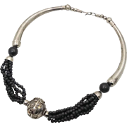Ethnic Necklace, Boho Statement, Silver Metal, Boho Jewelry, Choker, Big Silver Beads, Ethnic